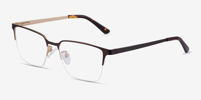 Brink Brown Metal Eyeglass Frames from EyeBuyDirect, Angle View