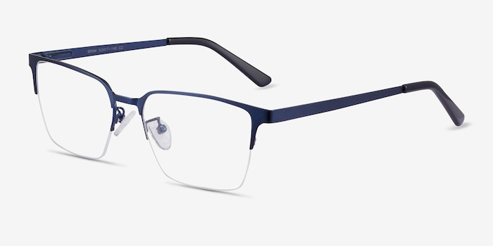 Brink Blue Metal Eyeglass Frames from EyeBuyDirect, Angle View