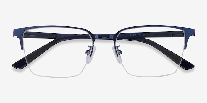 Brink Blue Metal Eyeglass Frames from EyeBuyDirect, Closed View