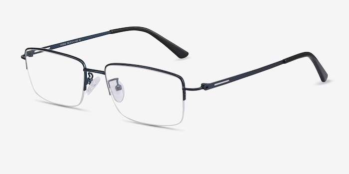 Studio Navy Metal Eyeglass Frames from EyeBuyDirect, Angle View