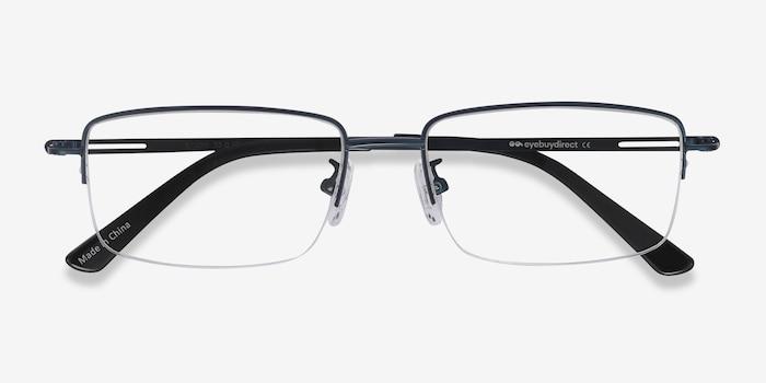 Studio Navy Metal Eyeglass Frames from EyeBuyDirect, Closed View