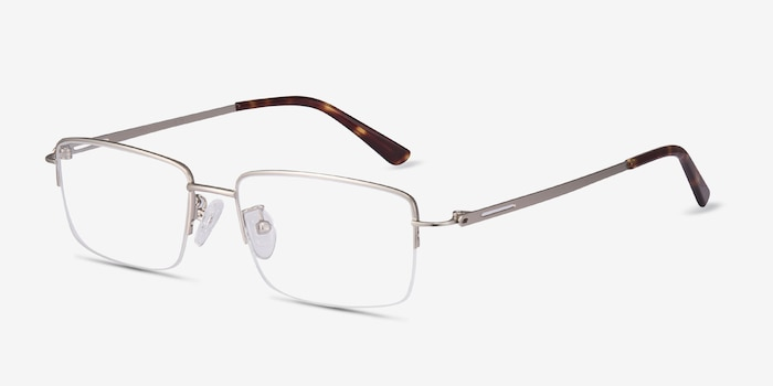Studio Silver Metal Eyeglass Frames from EyeBuyDirect, Angle View
