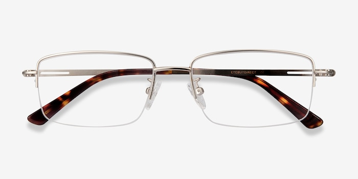 Studio Silver Metal Eyeglass Frames from EyeBuyDirect, Closed View