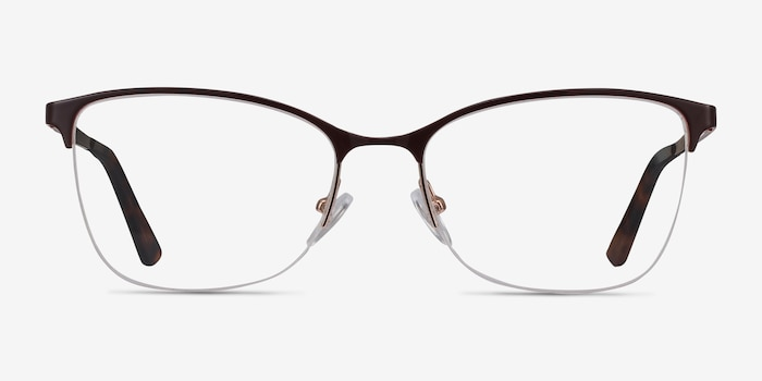 Kira Burgundy Metal Eyeglass Frames from EyeBuyDirect, Front View