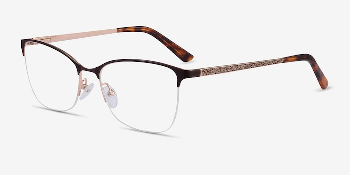 Kira Burgundy Metal Eyeglass Frames from EyeBuyDirect, Angle View