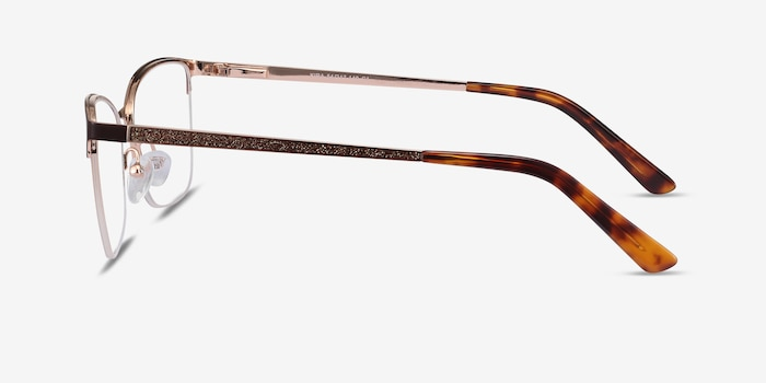 Kira Burgundy Metal Eyeglass Frames from EyeBuyDirect, Side View