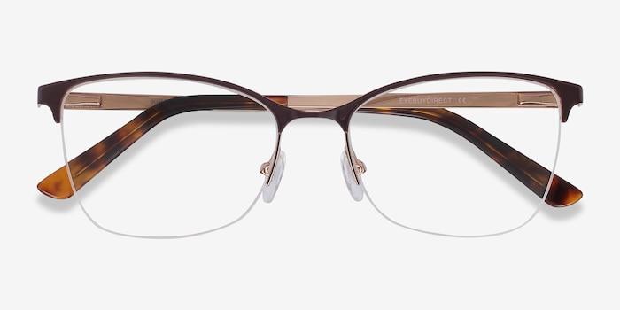 Kira Burgundy Metal Eyeglass Frames from EyeBuyDirect, Closed View