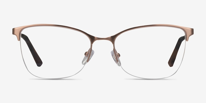 Kira Rose Gold Metal Eyeglass Frames from EyeBuyDirect, Front View