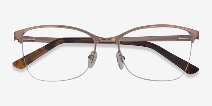 Kira Rose Gold Metal Eyeglass Frames from EyeBuyDirect, Closed View