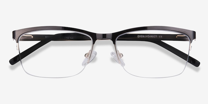 Rally Black Metal Eyeglass Frames from EyeBuyDirect, Closed View