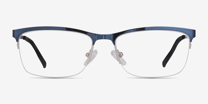 Rally Navy Metal Eyeglass Frames from EyeBuyDirect, Front View
