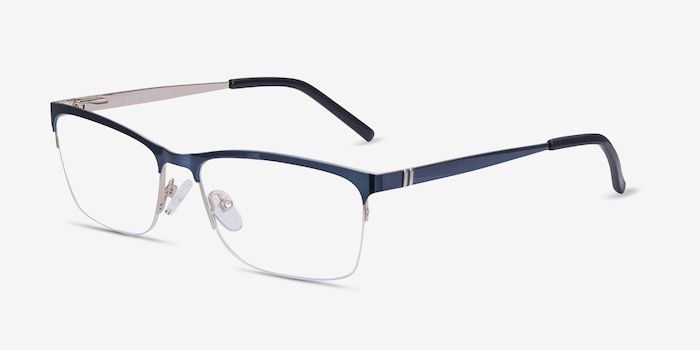 Rally Navy Metal Eyeglass Frames from EyeBuyDirect, Angle View