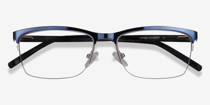 Rally Navy Metal Eyeglass Frames from EyeBuyDirect, Closed View
