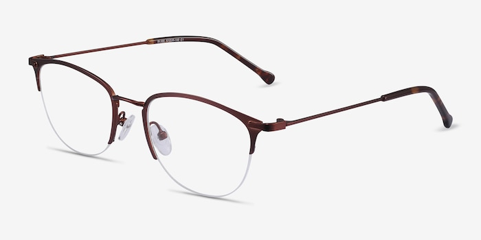 Elise Brown Metal Eyeglass Frames from EyeBuyDirect, Angle View