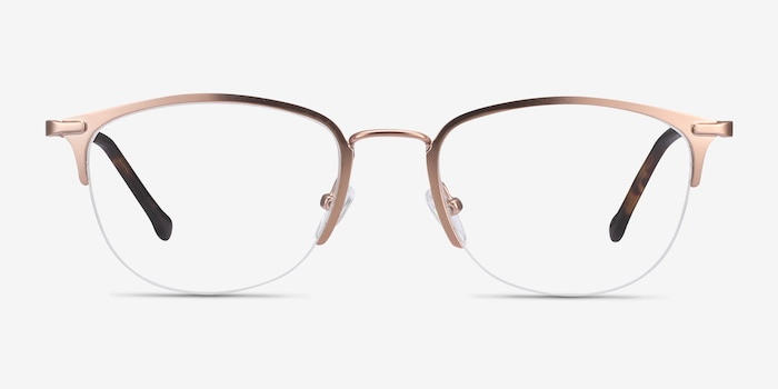 Elise Rose Gold Metal Eyeglass Frames from EyeBuyDirect, Front View