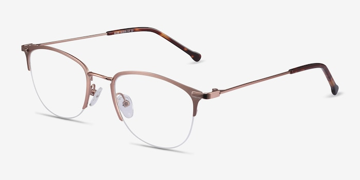Elise Rose Gold Metal Eyeglass Frames from EyeBuyDirect, Angle View