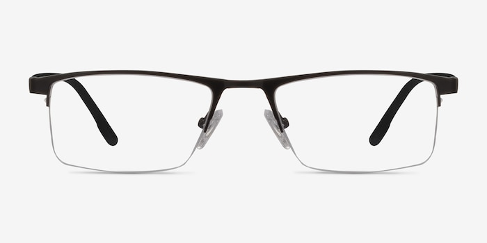 Singapore Matte Black Metal Eyeglass Frames from EyeBuyDirect, Front View
