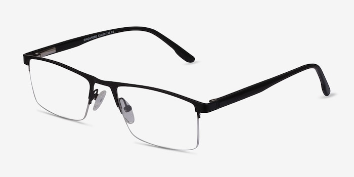 Singapore Matte Black Metal Eyeglass Frames from EyeBuyDirect, Angle View