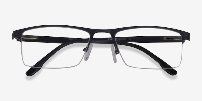 Singapore Matte Black Metal Eyeglass Frames from EyeBuyDirect, Closed View