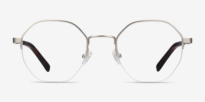 Cowen Silver Metal Eyeglass Frames from EyeBuyDirect, Front View