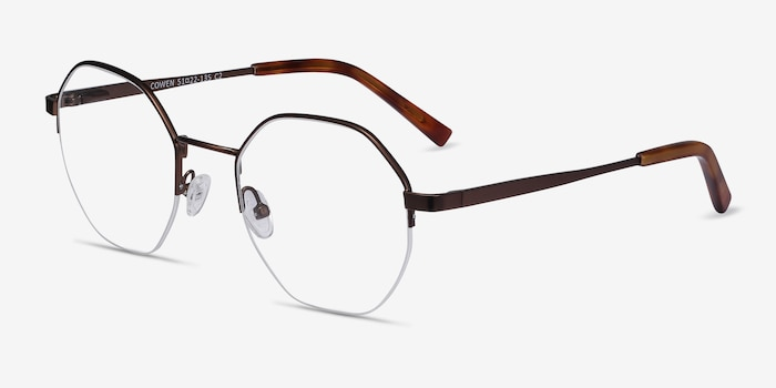 Cowen Bronze Metal Eyeglass Frames from EyeBuyDirect, Angle View