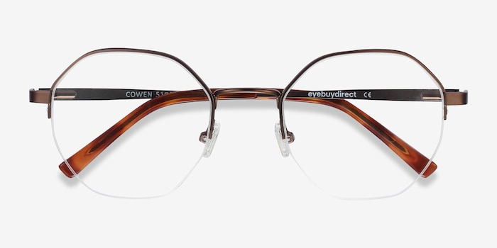 Cowen Bronze Metal Eyeglass Frames from EyeBuyDirect, Closed View