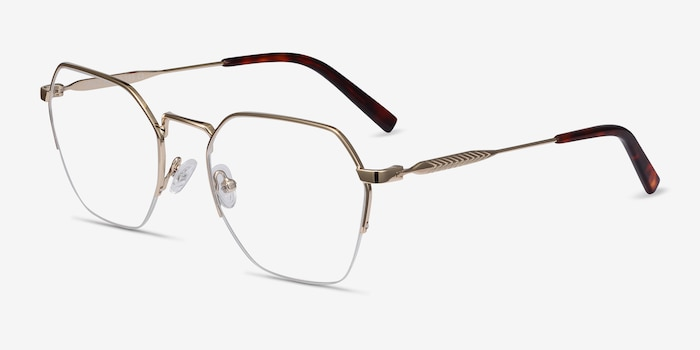 Cruz Gold Metal Eyeglass Frames from EyeBuyDirect, Angle View