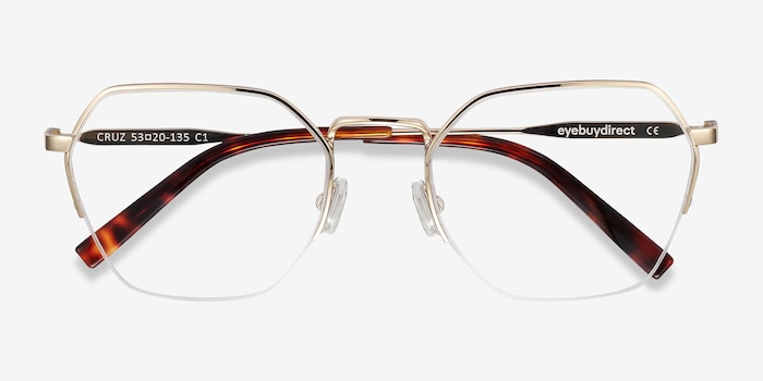 Cruz Gold Metal Eyeglass Frames from EyeBuyDirect, Closed View