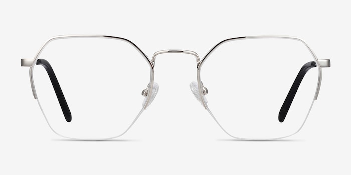 Cruz Silver Metal Eyeglass Frames from EyeBuyDirect, Front View