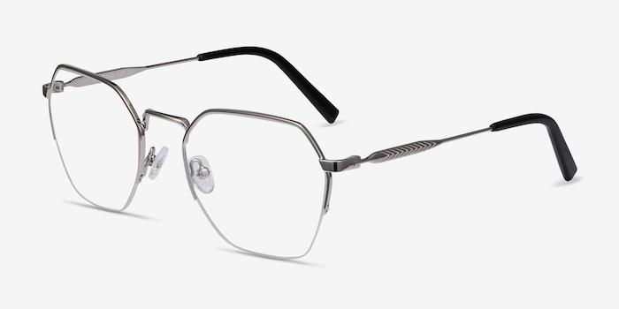 Cruz Silver Metal Eyeglass Frames from EyeBuyDirect, Angle View