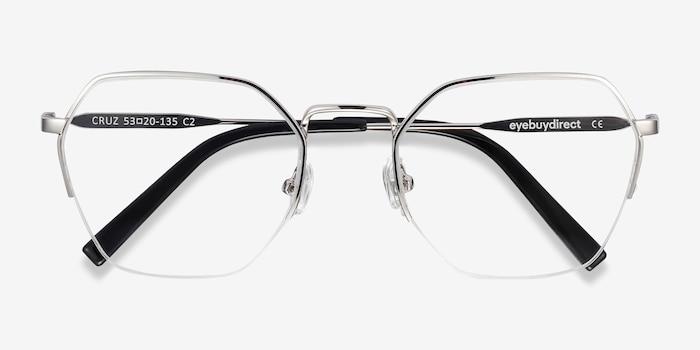 Cruz Silver Metal Eyeglass Frames from EyeBuyDirect, Closed View