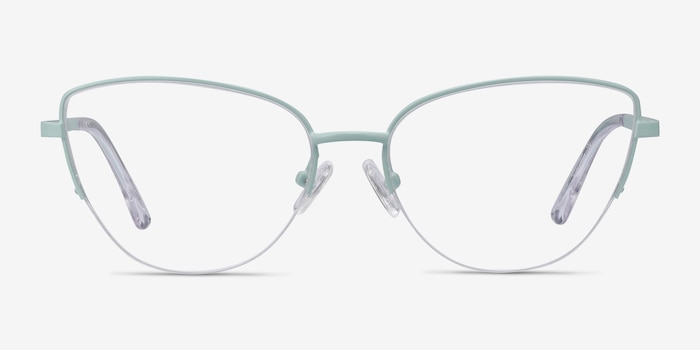Star Mint Metal Eyeglass Frames from EyeBuyDirect, Front View