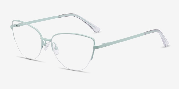 Star Mint Metal Eyeglass Frames from EyeBuyDirect, Angle View
