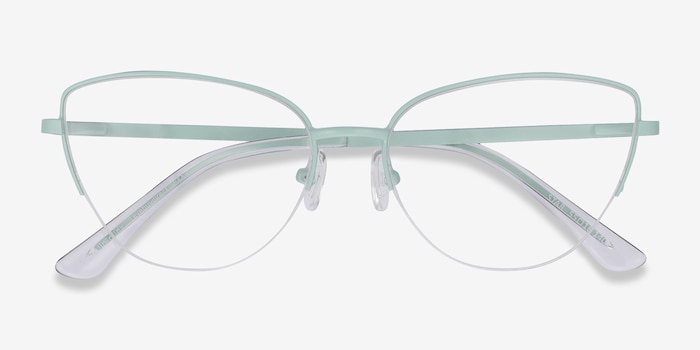 Star Mint Metal Eyeglass Frames from EyeBuyDirect, Closed View