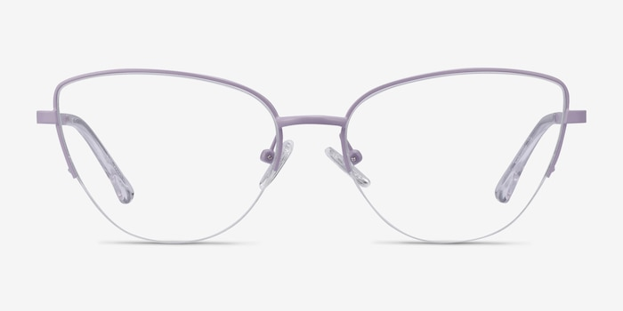 Star Lavender Metal Eyeglass Frames from EyeBuyDirect, Front View