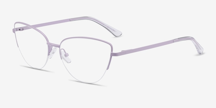 Star Lavender Metal Eyeglass Frames from EyeBuyDirect, Angle View