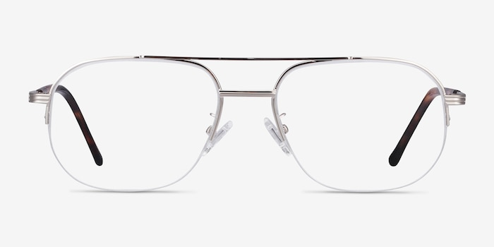 Carlson Silver Acetate-metal Eyeglass Frames from EyeBuyDirect, Front View