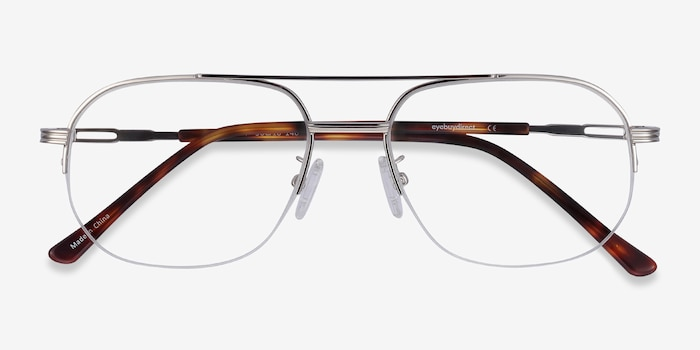 Carlson Silver Acetate-metal Eyeglass Frames from EyeBuyDirect, Closed View