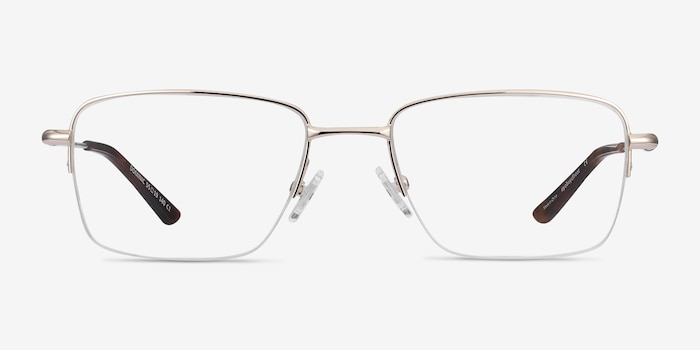 Dominic Gold Metal Eyeglass Frames from EyeBuyDirect, Front View