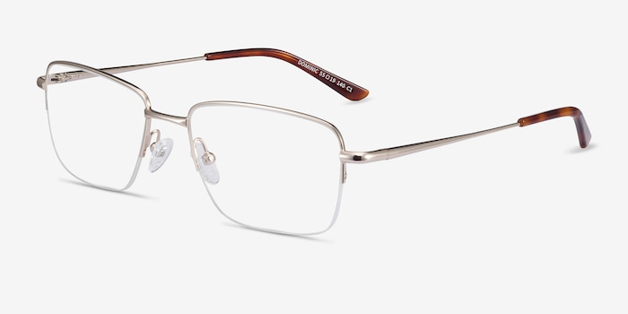 Dominic Gold Metal Eyeglass Frames from EyeBuyDirect, Angle View