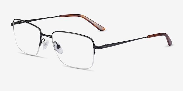 Dominic Black Metal Eyeglass Frames from EyeBuyDirect, Angle View