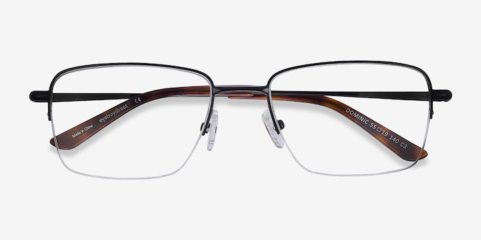 Dominic Black Metal Eyeglass Frames from EyeBuyDirect, Closed View