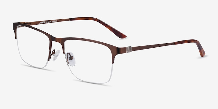 Jasper Coffee Metal Eyeglass Frames from EyeBuyDirect, Angle View