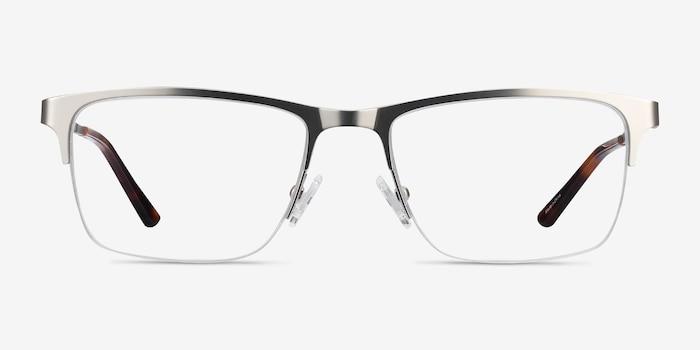 Jasper Silver Metal Eyeglass Frames from EyeBuyDirect, Front View