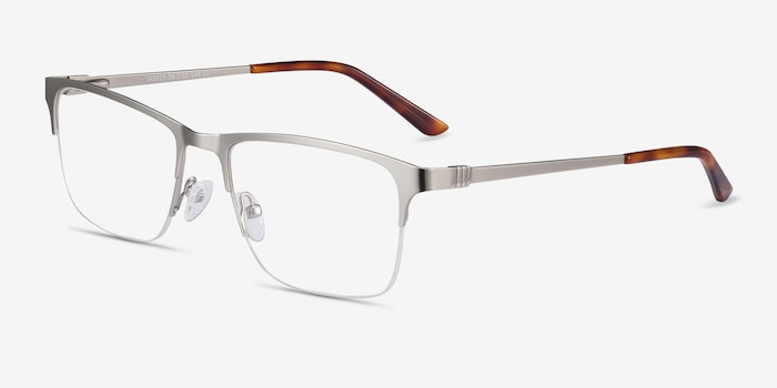 Jasper Silver Metal Eyeglass Frames from EyeBuyDirect, Angle View