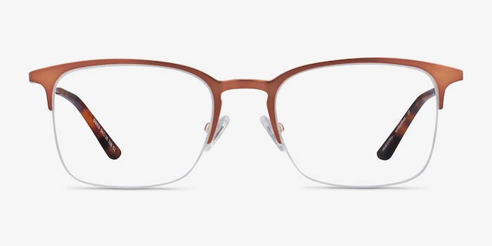 Owen Coffee Metal Eyeglass Frames from EyeBuyDirect, Front View
