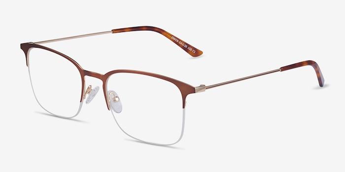 Owen Coffee Metal Eyeglass Frames from EyeBuyDirect, Angle View