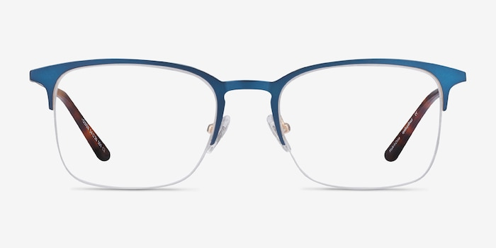 Owen Navy Metal Eyeglass Frames from EyeBuyDirect, Front View