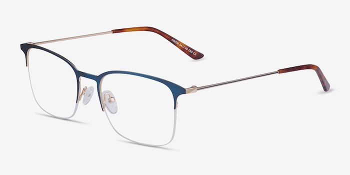Owen Navy Metal Eyeglass Frames from EyeBuyDirect, Angle View
