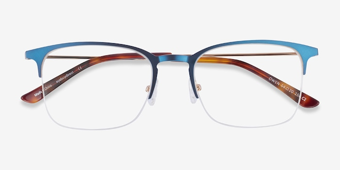 Owen Navy Metal Eyeglass Frames from EyeBuyDirect, Closed View